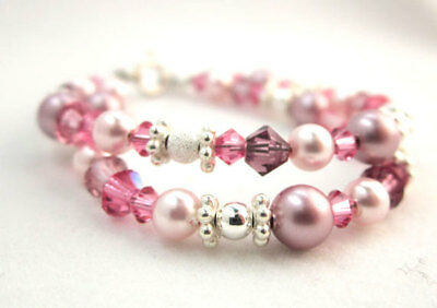 Double Layered Bracelet  with Pearls and Swarovski Crystal Sterling Silver Findi