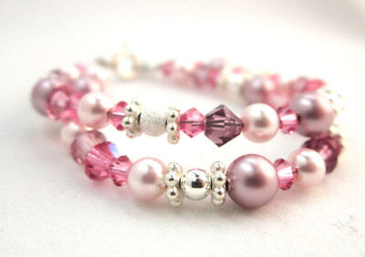 Double Layered Pearls and Swarovski Crystal Sterling Silver Findings Bracelet