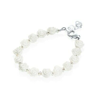White Flower Beads with White Pearls Bracelet