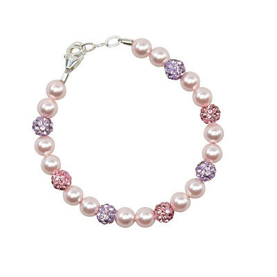 Pink Pearls and Pink and Purple Pave Beads Bracelet