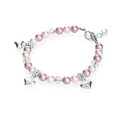 Pink and Rose Pearls with Sterling Silver Puffy Hearts Bracelet