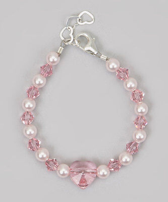 Pink Swarovski Pearls Crystals and Heart Bracelet