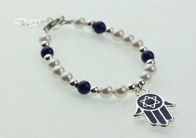 Baby Bracelet with Swarovski White Pearls and Sterling Silver, Blue Beads with B