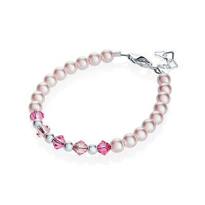 Baby Bracelet with Swarovski Pink Pearls with Pink Crystals and Sterling Silver
