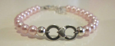 Baby Bracelet with Swarovski Pink Pearls with Sterling Silver Infinity Bead