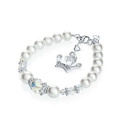 Swarovski White Pearls and Clear Crystals with Sterling Silver Princess Crown Ch