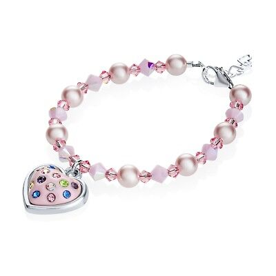 Baby Bracelet with Swarovski Pink Pearls and Pink Crystals with Crystal Heart Ch