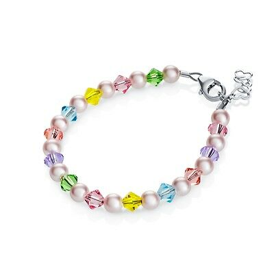 Baby Bracelet with Swarovski Pink Pearls and Multi Color Crystals