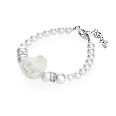 Baby Bracelet with Swarovski White Pearls and White Flower with Sterling Silver