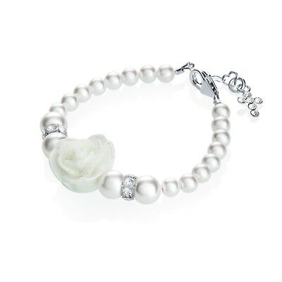 Swarovski White Pearls and White Flower with Sterling Silver Cross Charm Bracele