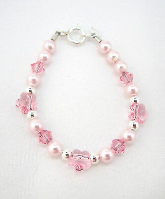 Baby Bracelet with Pink Swarovski Pearls and Flower Crystals
