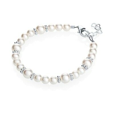 White Swarovski Pearls with Sterling Silver Daisy Spacers Bracelet