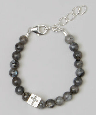 Blue Labradorite Beads with Sterling Silver Box Cross Bracelet