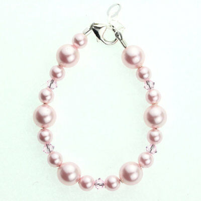 Baby Bracelet with Silver BIG SIS Heart Charm and Swarovski Pink Pearls and Pink