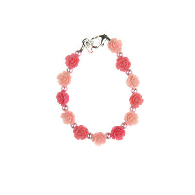 Pink & Rose Flowers with Pink Pearls Bracelet