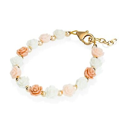 Gold Beads with Pink, Rose & White Flowers Bracelet