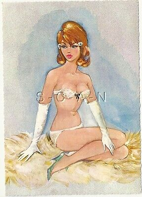 Original 50s-60s German Semi Nude Artistic Pinup PC- Gloves- Bra- Panties- Heels