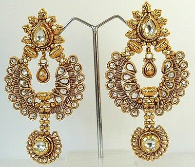 South Indian Ethnic Gold Temple Jewelry Wedding Bridal Earrings FASHION EDH