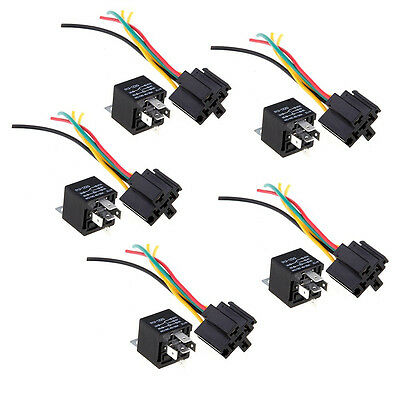 5 Repeater Relay 5 Pin12V 30/40A + 5 Cable socket for Car Automotive DM