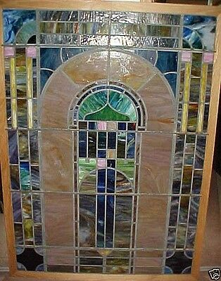 "Vintage Stained - Leaded Glass Window Very Large Size 65"" X 47"" Framed"