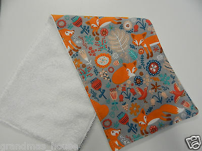 Foxes on Grey Flannelette Burp Cloth - 1 Only Toweling Back GREAT GIFT IDEA!!