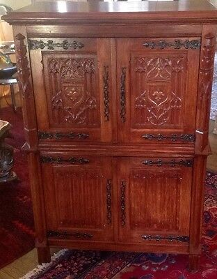 Antique French Carved Gothic Cabinet European Chic
