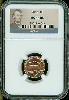 2013-P Lincoln Shield Cent Ngc Ms66 Red Great Coin