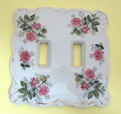 Vintage Lefton 3007 Pink Rose Double Light Switch Cover Stunning Porcelain T60
