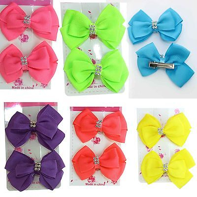 2 x NEON Kids Baby Shower BOWS Hair Alligator Clip Bridesmaid/Christening Girls