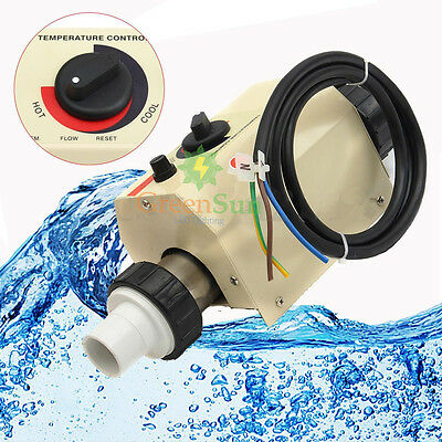 220V 2KW Swimming Pool SPA Bath Hot Tub Electric Water Heater Thermostat New
