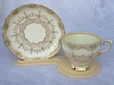 Plant Tuscan Green/Gold  Tea Cup & Saucer # 7038A   (58)