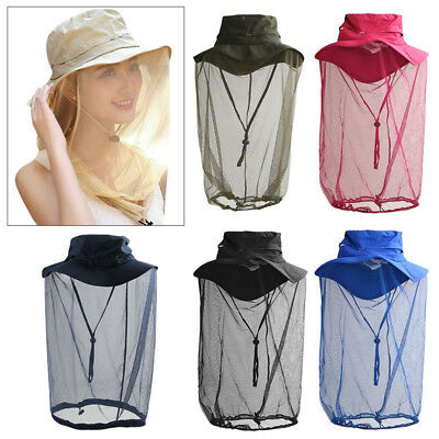 Insect Mosquito Fly Net Mesh Face Fishing Camping Hiking Hat Protector Cap Black