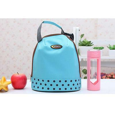 Chic Dot Pattern Outdoor Travel Hand Lunch Organizer Cooler Thermo Storage Bag G