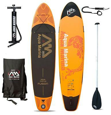 AQUA MARINA FUSION SUP inflatable Stand Up Paddle Surfboard Board Paddel Leash