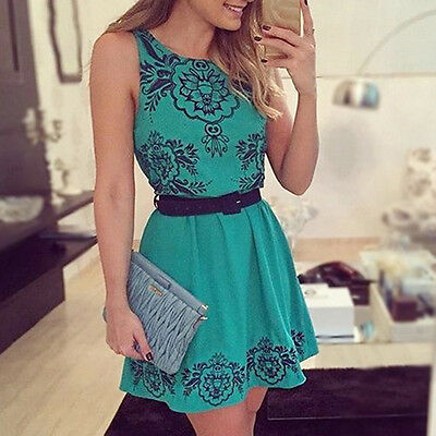 Women Summer Sexy Sleeveless Floral Evening Party Short Mini Dress Marvelous