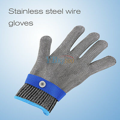 Durable Safety Stab Resistant Stainless Steel Metal Mesh Butcher Glove M L XL
