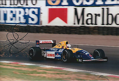 Nigel MANSELL SIGNED RENAULT CANON RED 5 12x8 Photo Autograph AFTAL COA