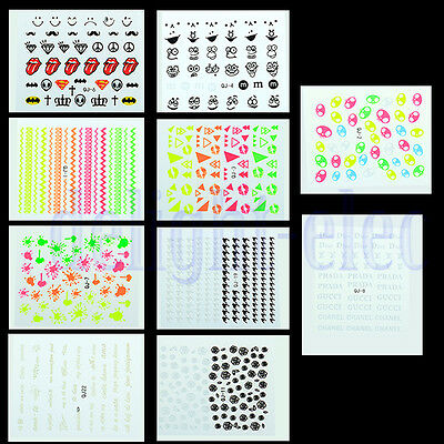Lady Girl New 3D Colorful Manicure Decoration Nail Art Tip Cute Sticker Decal DE
