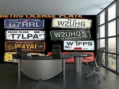 Retro Licence Plates Wall Mural Photo Wallpaper GIANT DECOR Paper Poster
