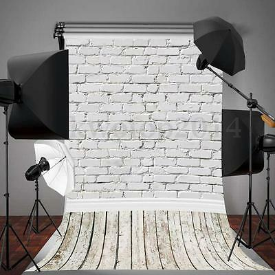 5x10FT White Brick Wall Wooden Floor Photography Backdrop Photo Background