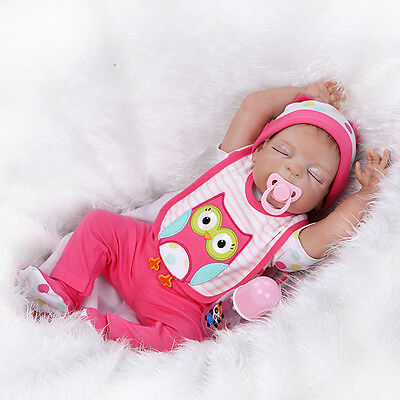 "22"" Lifelike Reborn Doll girl Handmade Baby Pacifier full Body Silicone Bambole"