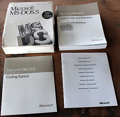 Microsoft Ms-Dos 5.0 User's Guide Reference Book, License, Getting Started & Box