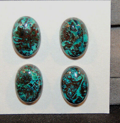 Chrysocolla Pair Cabochons 10x14mm with 5mm dome from Peru set of 4 (10985)