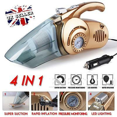 UK 100W 12V Handheld Wet Dry Car Vacuum Cleaner Rechargeable w/Air Pump Function