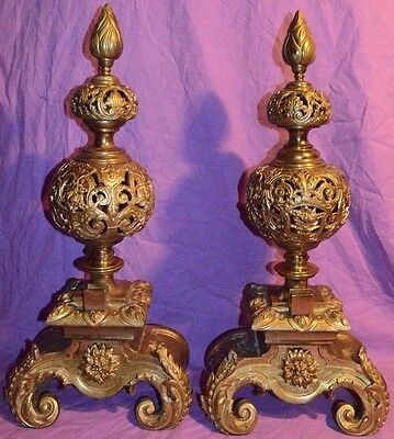"Massive Large Heavy 24"" Tall Brass Fireplace Andirons Regency Rococo Ornate HUGE"