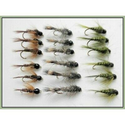 18 Tungsten Bead Trout Fishing Flies,Hares Ear/Pheasant Tail/Olive 10/12/14