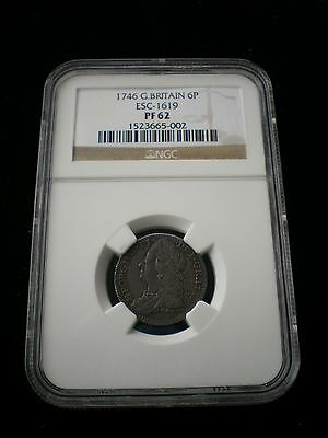 Very Rare Great Britain George II 1746 PROOF Sixpence 6d - PF62