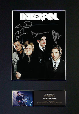 INTERPOL Signed Mounted Autograph Photo Prints A4 533