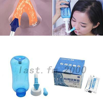 New 300ml Nasal Rinsing Nose Wash System Neti Pot Sinus Irrigation /30*Salt