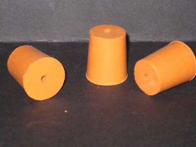 20mm Bottom Diameter Rubber Bung with 1 Hole (4mm) Stopper Cork New (ref7)